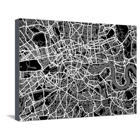 London Map Art Stretched Canvas Print Wall Art By Michael Tompsett