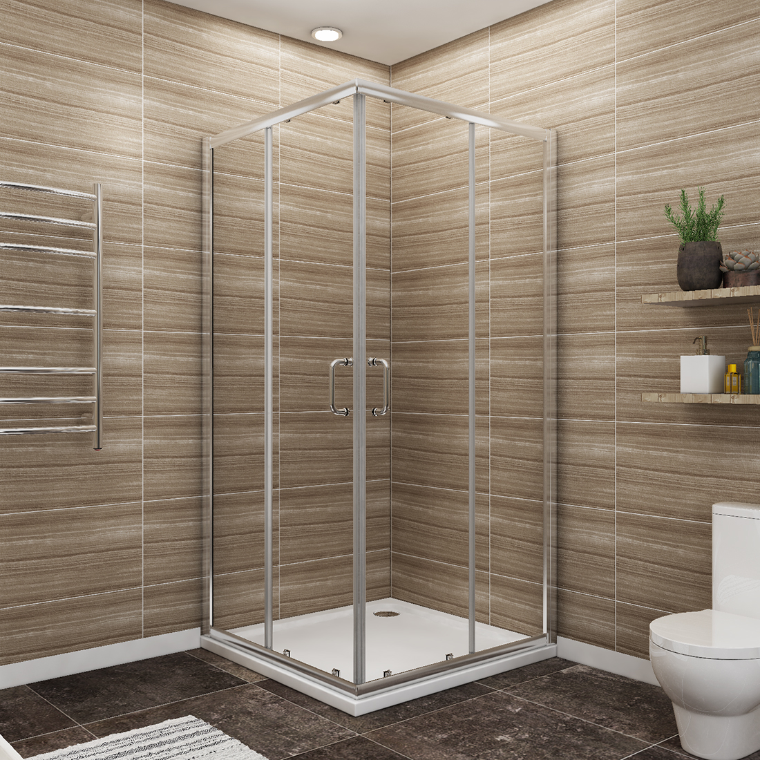 "Sunny Shower 36"" X 36"" X 72"" Double Opening Corner Shower Doors 1/4"" Clear Glass Shower Enclosure with Magnetic Waterproof Seal Strip/Chrome Finish/  Base Not Inlcuded"