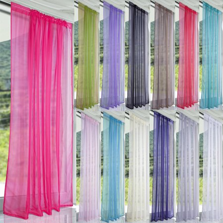Sheer Curtain Panels, Voile Curtains Scarf Draperies Window Treatment for Living Room/Patio/Villa/Parlor/Sliding Door - Ribbon Door Curtain