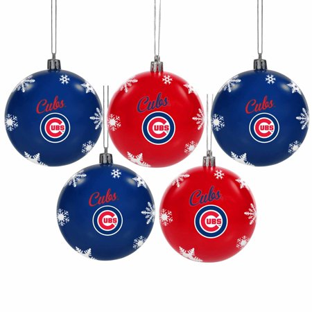 Cubs Christmas Ornaments.Chicago Cubs 5 Pack Set Of Shatterproof Ball Ornaments No