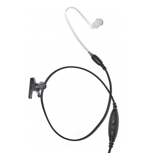 1_Wire Straight Acoustic Tube Earpiece Mic Inline PTT for...