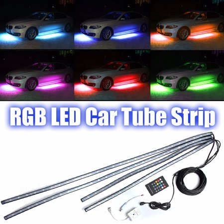 - AMBOTHER 4x RGB Under Car Tube Strip 126 LED Sound Active Underglow body Neon Light Kit Wireless Control