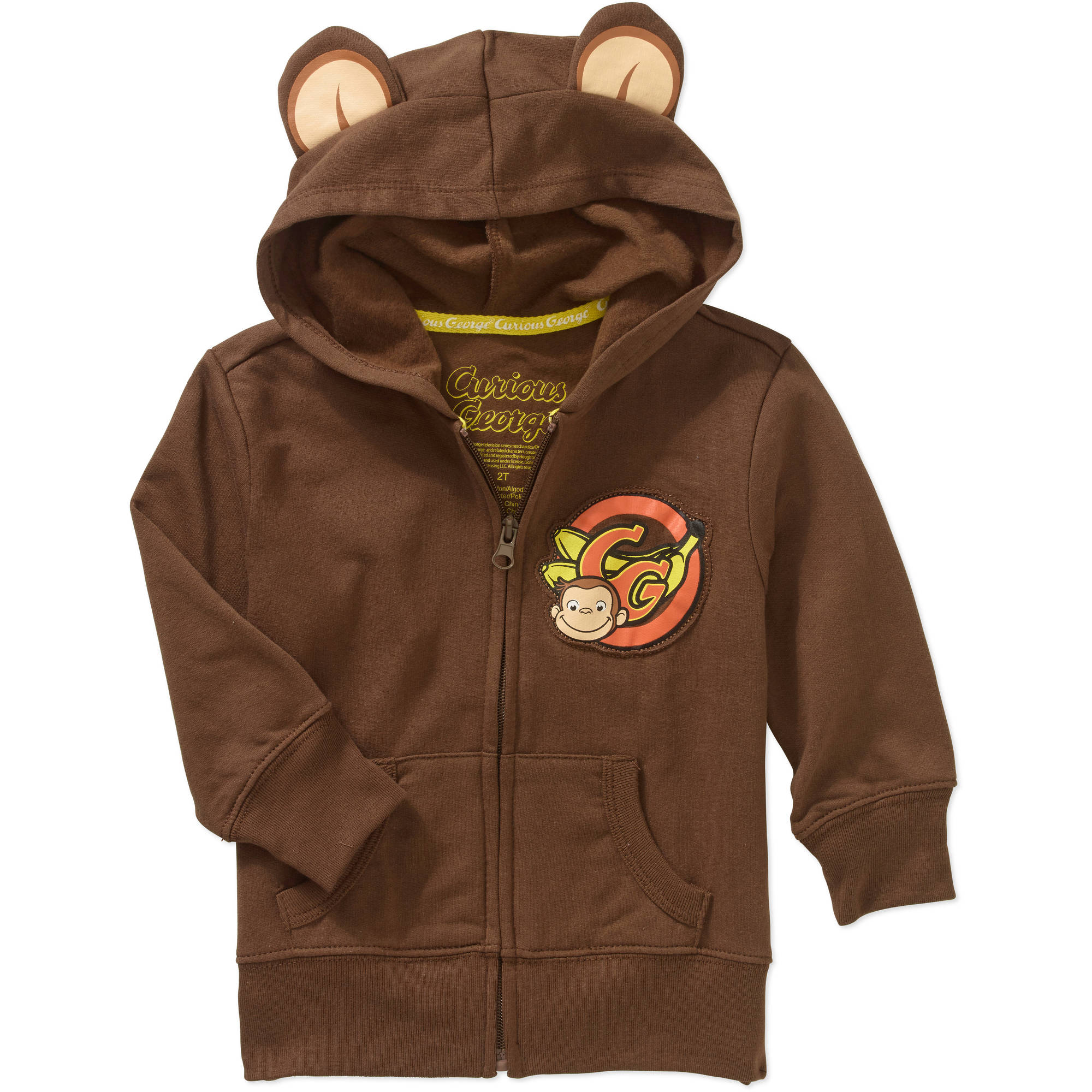 CURIOUS GEORGE BROWN HOODIE JACKET 18-24 MONTHS BOYS GIRLS