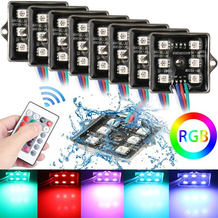 8-pack LED Rock Lights Under Body LED Truck Bed Lighting RGB w/RF Remote Control