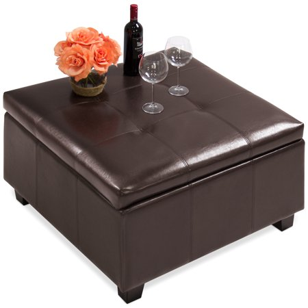 Best Choice Products PU Leather Square Shape Storage Ottoman Foot Rest Stool Decor Furniture w/ Large Sturdy Frame, Gas Shock Hinges - Espresso ()