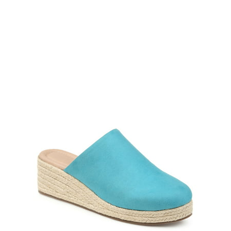 Womens Comfort Espadrille Mule Wedge (Green Clown Shoes)