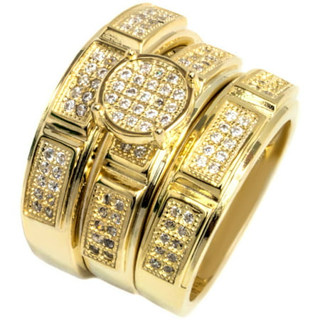 Pori Jewelers CZ 18kt Gold over Sterling Silver Micro-Pave Circle Trio Engagement Ring