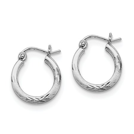 Sterling Silver Polished Hinged post Rhodium-plated 2mm Satin and Sparkle-Cut Hoop Earrings