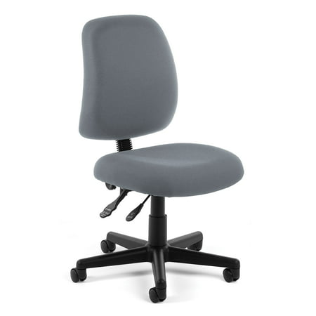 OFM Posture Series Model 118-2 Armless Swivel Task Chair, Fabric, Mid Back, - Back Chair Green