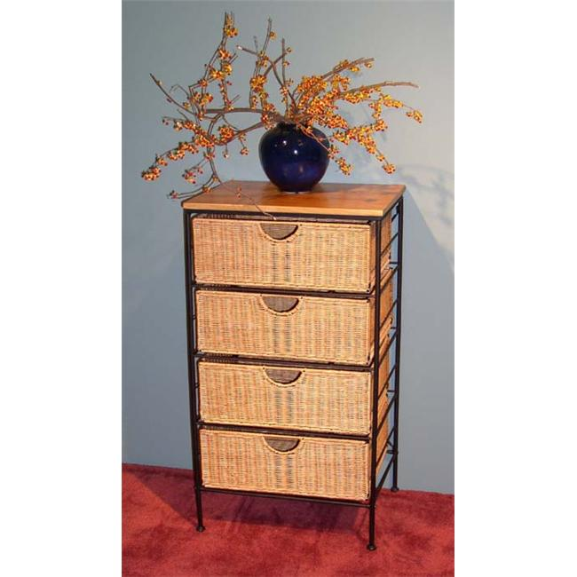 4D Concepts 263070 4 Drawer Wicker Stand - Wicker/Metal