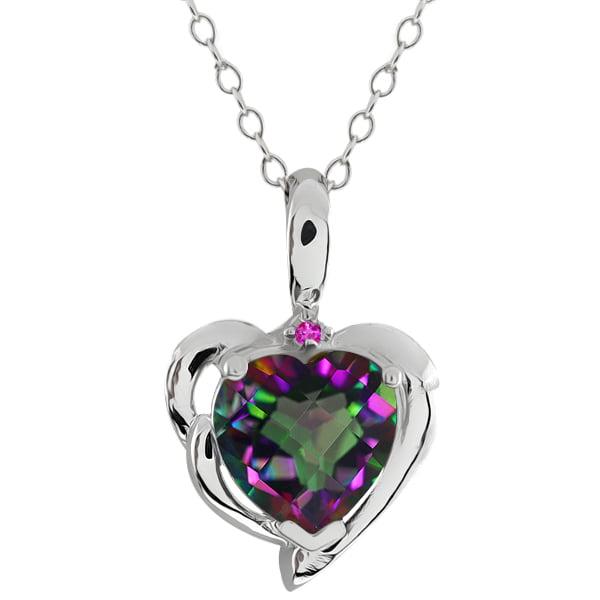 2.52 Ct Heart Shape Green Mystic Topaz Pink Sapphire 925 Sterling Silver Pendant