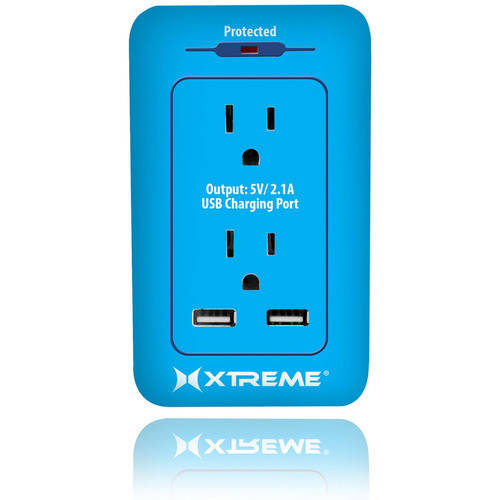 Xtreme 2-Outlet Surge Wall Tap with Dual Port USB