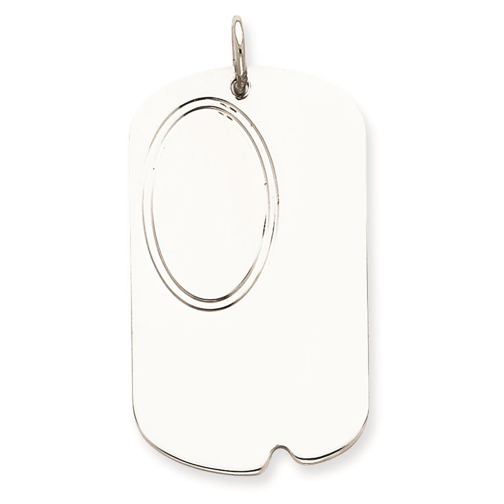 925 Sterling Silver Engravable Dog Tag Disc Charm Pendant 37mmx21mm