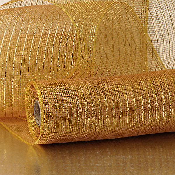 "10"" X 10 Yards Coffee/Gold Deco Mesh W/Metallic Stripe by Paper Mart"