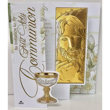 First Holy Communion Golden Jesus Christ Invitations with Envelopes 8 (Communion Invitation Wording)