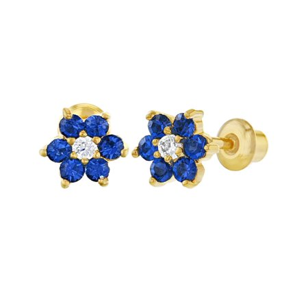 15cdadbce In Season Jewelry - 18k Gold Plated Navy Blue Clear Crystal Flower Children  Screw Back Earrings 5mm - Walmart.com