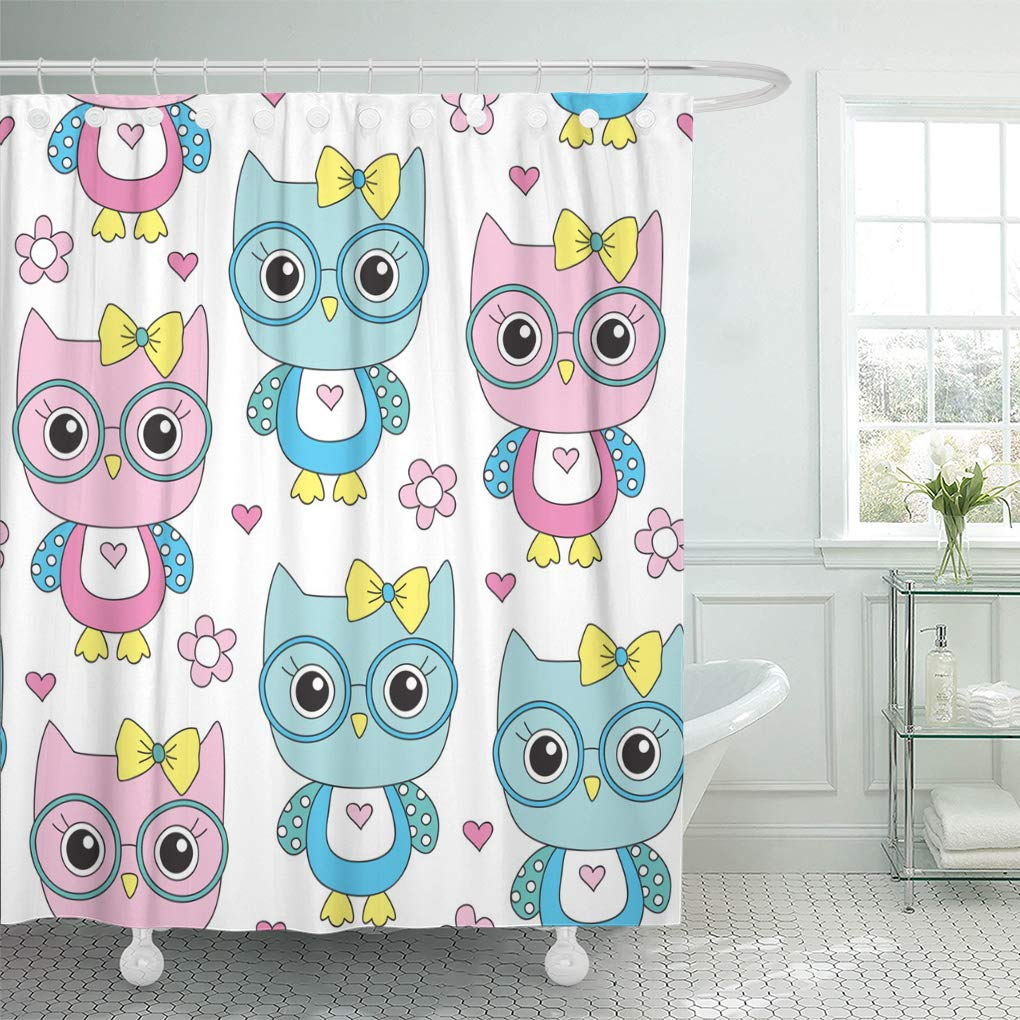 YUSDECOR Adorable Seamless Cute Owl Glasses Pattern Vector Illustration  Childish Bathroom Decor Bath Shower Curtain 12x12 inch