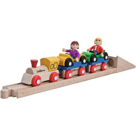 Wooden Train Cars (Eichhorn 10-Piece Wooden Car Shuttle Train Set )