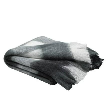 Loon Peak Burta Mohair Plaid BlackWhiteGrey Throw Blanket 40'' X Unique Loon Throw Blanket