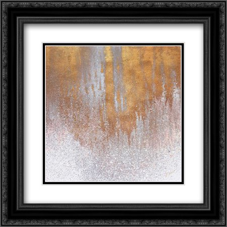 Gold Summer Woods Square 2x Matted 20x20 Black Ornate Framed Art Print by Mercado, -