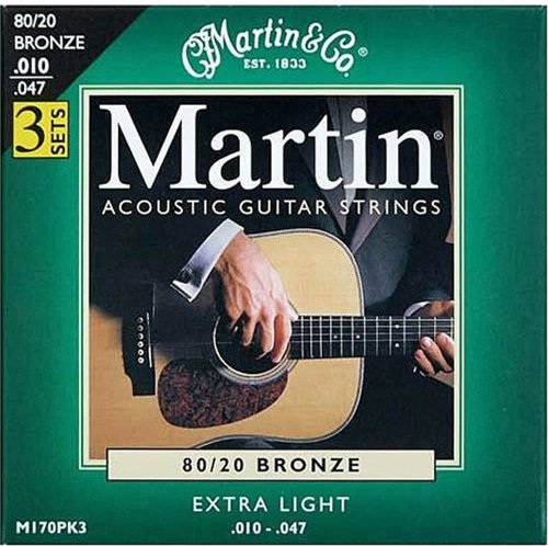 Martin M170 3-Pack 80/20 Bronze Extra-Light Gauge Acoustic Strings
