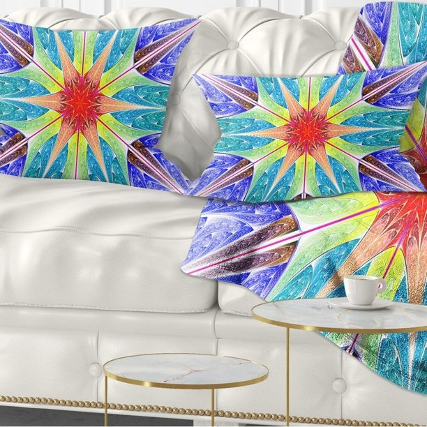 Design Art Designart Extraordinary Fractal Blue Design Abstract Throw Pillow Walmart Com Walmart Com