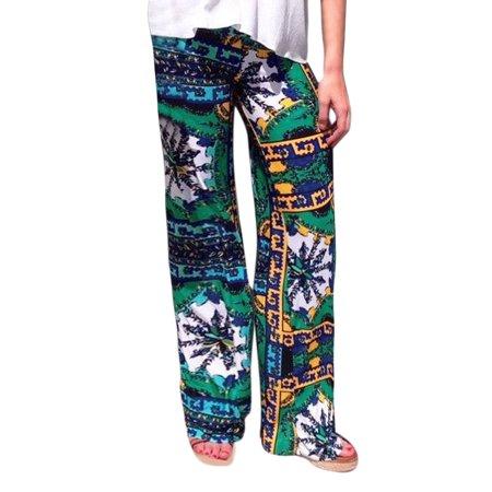 Unique Bargains Womens Wide Leg Snowflake Pattern Elastic Waist Casual Pants Green  Size L   14