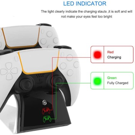 Charger Dock Stand for PS5 Dual Sense Handle Controller, Dual Charging Station with LED Indicator Lamp, for PS5 Gaming Console Gamepad Accessories