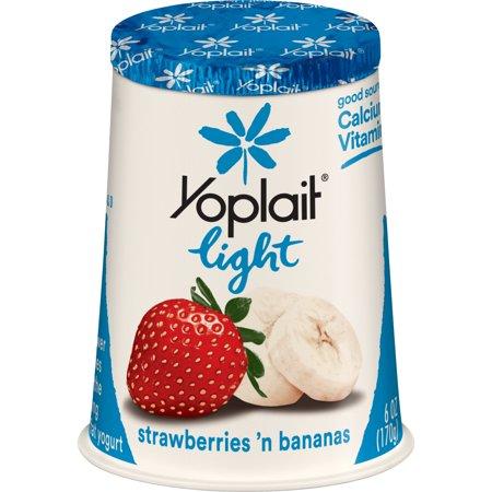 Yoplait Light Fat Free Yogurt Strawberries and Bananas, 6 oz