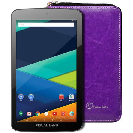 "Visual Land Prestige 7"" Quad Core Slim Tablet 16GB includes Wallet Case"