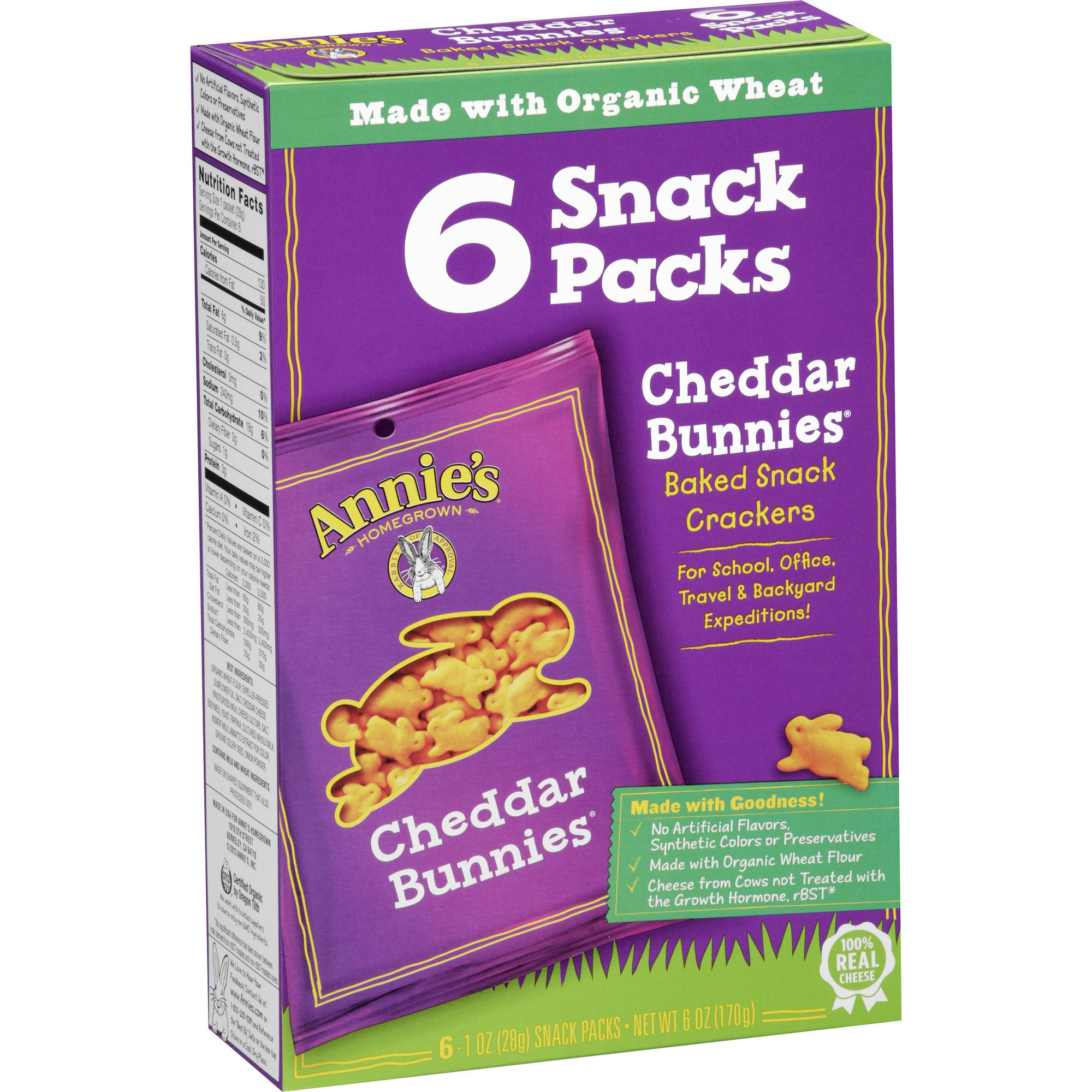 Annie's Homegrown Cheddar Bunnies Baked Snack Crackers, 1 oz, 6 count (Pack of 6)