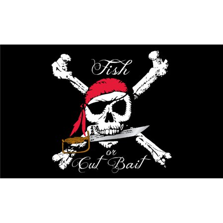 Fish or Cut Bait Pirate Flag with Grommets 3ft x 5ft