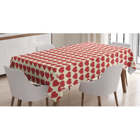 Valentine Tablecloth, Vibrant Red Colored Heart Shapes Tile Pattern Romantic In Love Theme Design Print, Rectangular Table Cover for Dining Room Kitchen, 52 X 70 Inches, Red Cream, by Ambesonne - Valentine Tablecloth