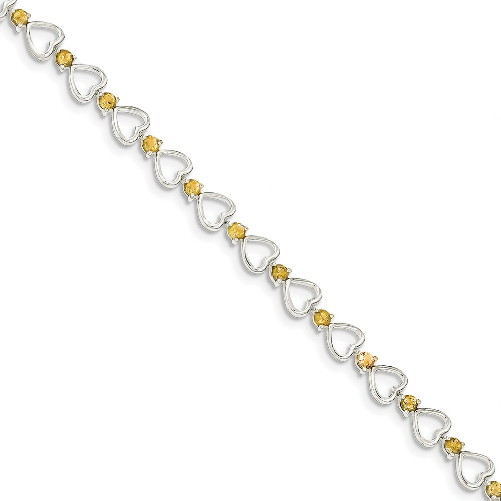 "925 Sterling Silver Simulated Citrine Bracelet -7.5"" (7in x 7mm) by"