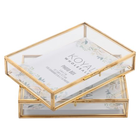 Koyal Wholesale Gold Glass 5 x 7 Inch Photo Box for Photos, Keepsake Photo Memories Storage, Decorative Jewelry Box