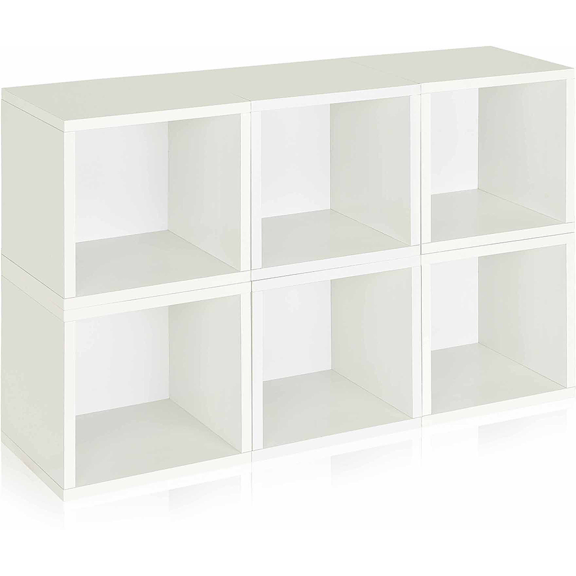 Way Basics Eco Stackable Modular Storage Cubes, White, 6-Pack