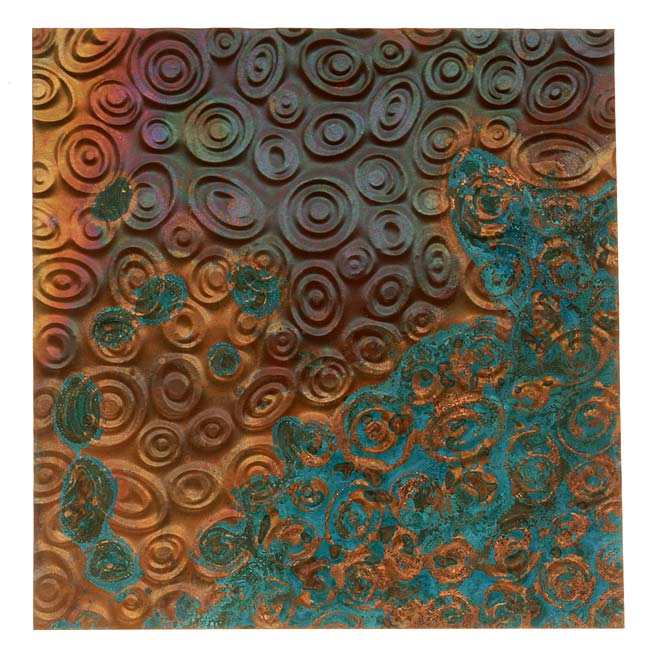 Lillypilly Copper Sheet Metal Retro Ovals Embossed Azul Patina 36 Gauge - 3x3 In