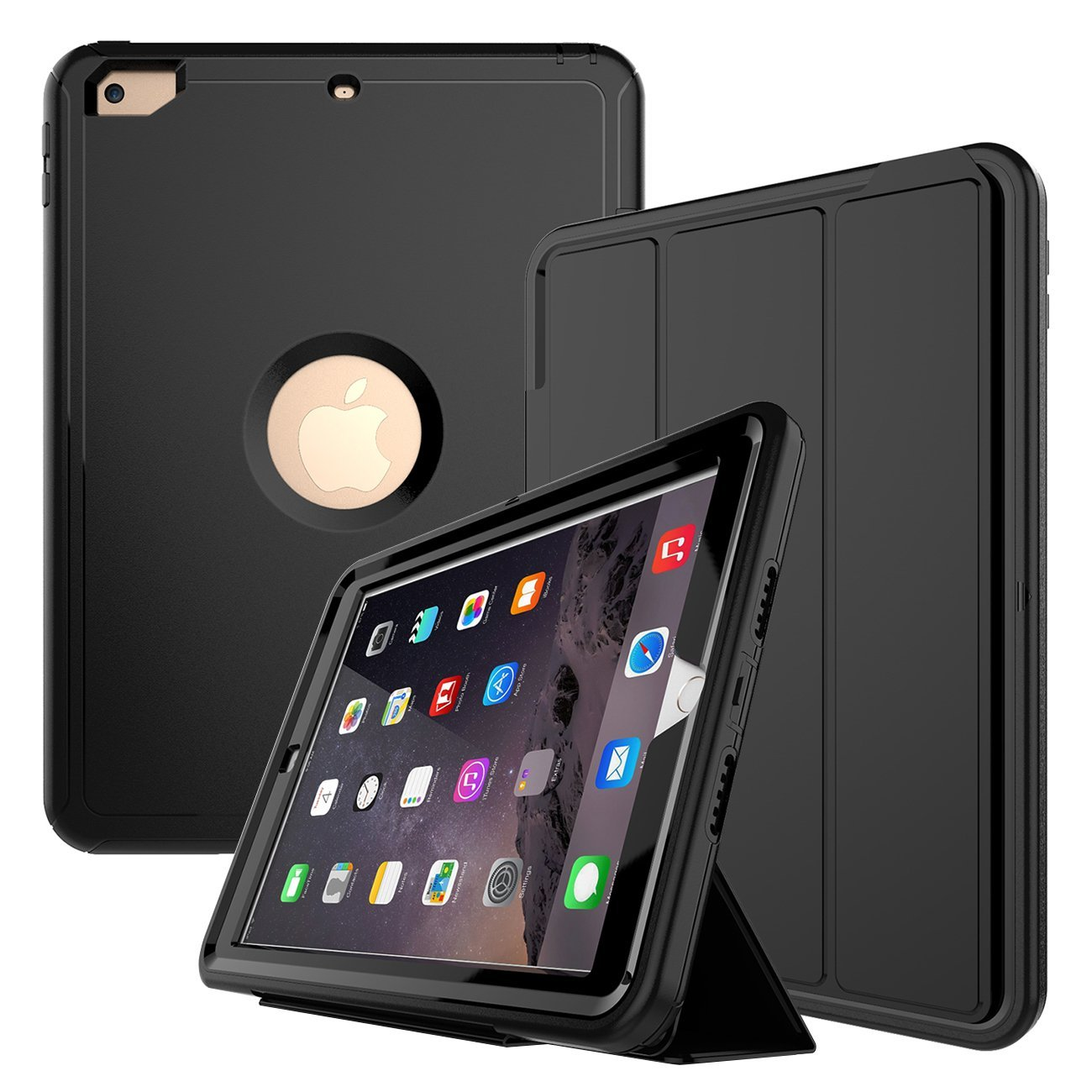 Spencer For Apple iPad Mini 1 2 3 Retina Shockproof Smart Flip Stand Case Folio Magnetic Cover Black