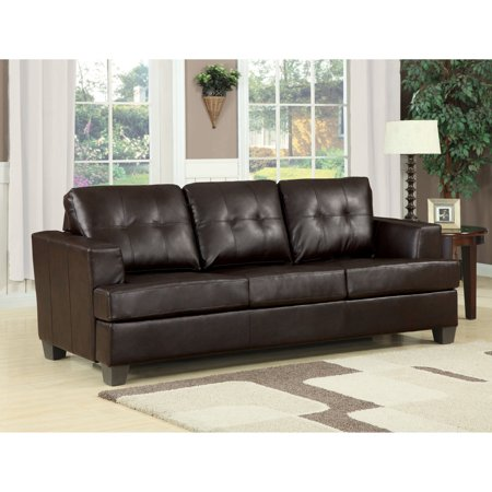 ACME Platinum Tufted Sleeper Sofa in Brown Bonded Leather Brown Leather Sofa Beds