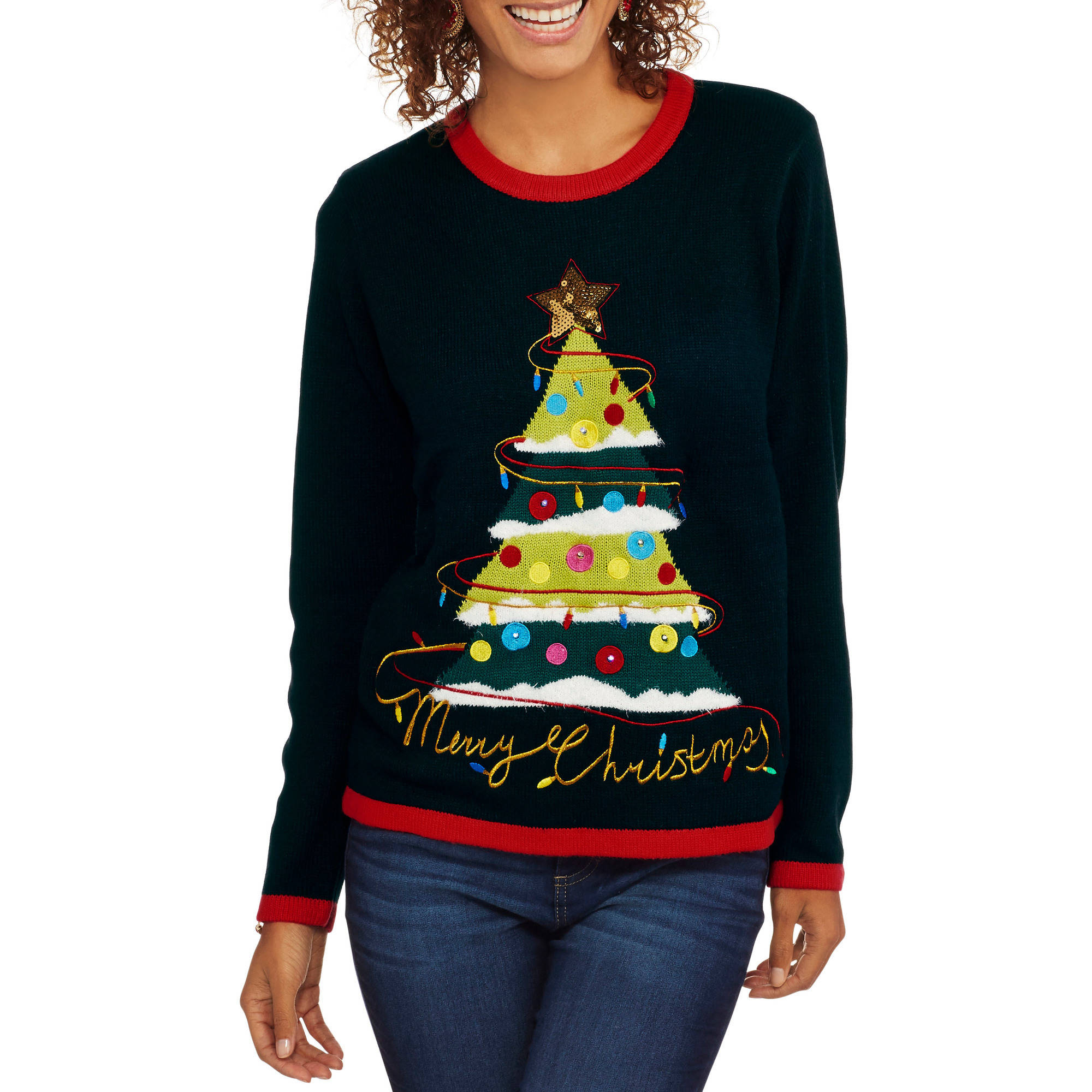 """Holiday Time Women's Cristmas Sweater - """"Festive Tree"""""""