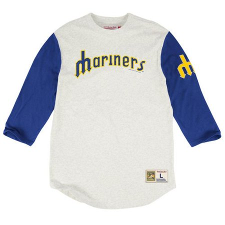 detailed look c1886 73f83 Seattle Mariners Mitchell & Ness Extra Out Three-Quarter Sleeve Raglan  T-Shirt - Cream/Royal
