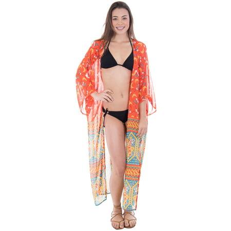 b5117e8699 BASILICA - Women's Summer Bohemian Open Front Sheer Bikini Cover Up Beach  Wrap,Red/Teal - Walmart.com