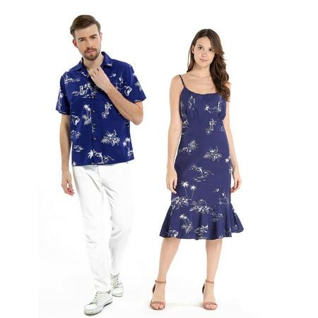 8f8454547da Couple Matching Hawaiian Luau Cruise Outfit Shirt Dress Classic Map Navy  Flamingo Men 2XL Women M - Walmart.com