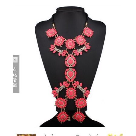 Generic XY Fancy Multi Layer Flower Chains Allloy Resin Elegant Flower Women Back Sexy Body Chains Summer Dress Necklaces - Fancy Dress Clearance