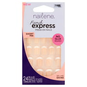 Nailene French Express Short Pink 12 Sizes Press-On Nails, 24 count