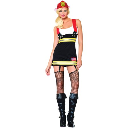 Leg Avenue Women's Backdraft Babe Firefighter Costume, Black/White, Small