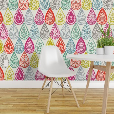 Peel and Stick Removable Wallpaper Indian Paisley Teardrop Pink Blue P