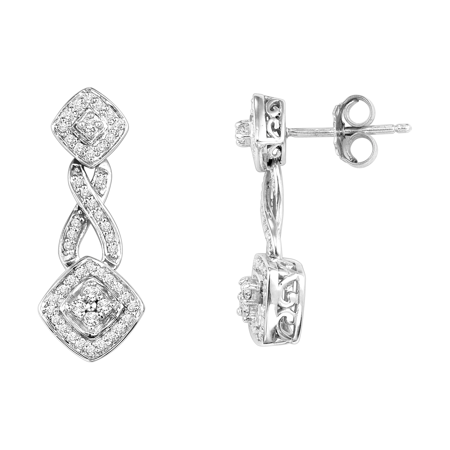 - 1/3 Carat T.W. Diamond Platinum Plated Sterling Silver Earrings