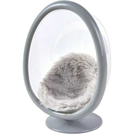 My Life As Mini Egg Chair with Faux Fur Cushion, Gray, for 7