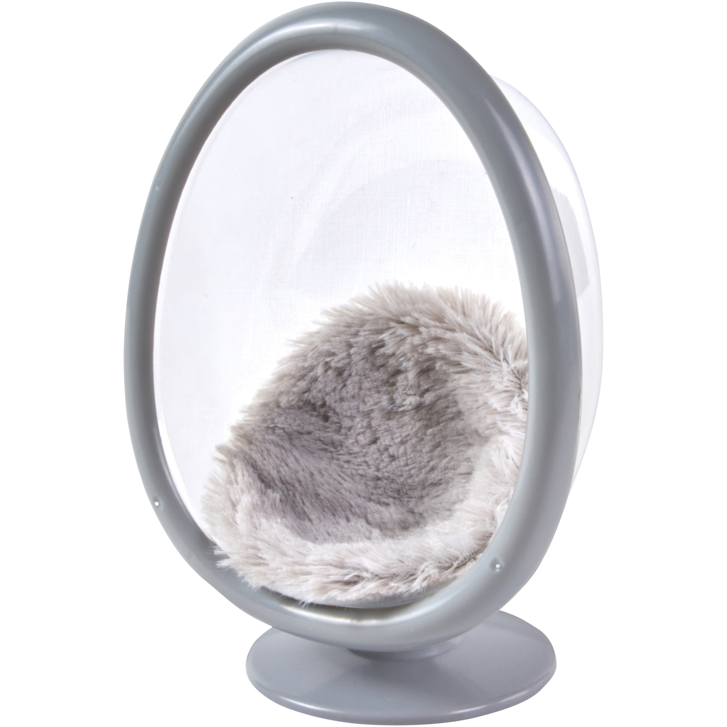 """My Life As Mini Egg Chair with Faux Fur Cushion, Gray, for 7"""" Dolls"""